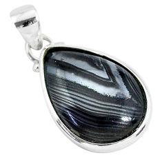 925 silver 12.58cts natural black psilomelane (crown of silver) pendant r94331