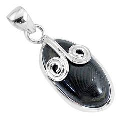 925 silver 15.08cts natural black psilomelane (crown of silver) pendant r94487