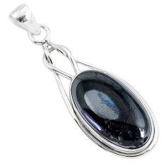 925 silver 16.73cts natural black psilomelane (crown of silver) pendant r94514