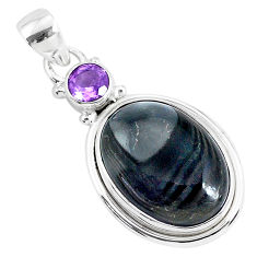 925 silver 14.57cts natural black psilomelane (crown of silver) pendant r94517