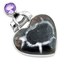 925 silver 13.70cts natural black septarian gonads amethyst pendant t13227