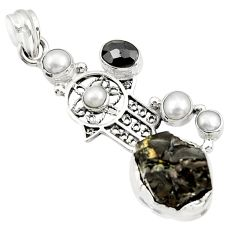 Clearance Sale- 925 silver 18.17cts natural black shungite onyx hand of god hamsa pendant d43557