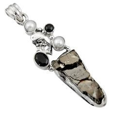Clearance Sale- 925 silver 20.77cts natural black shungite onyx pearl fish pendant d43555
