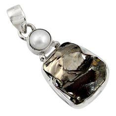 925 silver 15.39cts natural black shungite white pearl pendant jewelry d43544