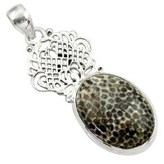 925 silver 20.86cts natural black stingray coral from alaska oval pendant d43173