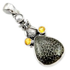 Clearance Sale- 925 silver 16.06cts natural black stingray coral from alaska owl pendant d43176
