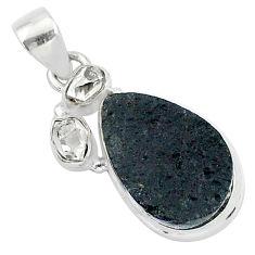 925 silver 13.70cts natural black tektite herkimer diamond fancy pendant t1267