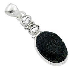 925 silver 12.60cts natural black tektite herkimer diamond fancy pendant t20646