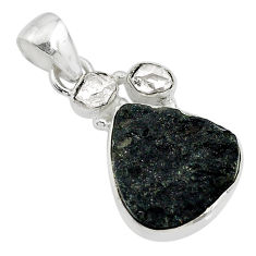 925 silver 10.79cts natural black tektite herkimer diamond fancy pendant t20652
