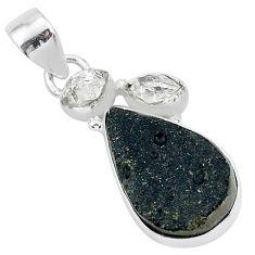 925 silver 12.18cts natural black tektite herkimer diamond pear pendant t1299