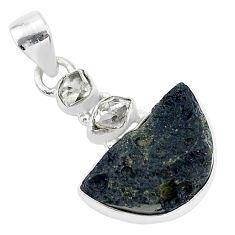925 silver 14.72cts natural black tektite herkimer diamond pendant t1263