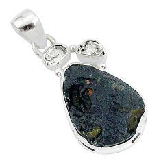 925 silver 13.15cts natural black tektite herkimer diamond pendant t1270