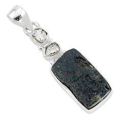 925 silver 12.58cts natural black tektite herkimer diamond pendant t1276
