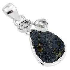 925 silver 13.12cts natural black tektite herkimer diamond pendant t1290