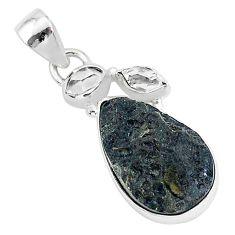 925 silver 13.15cts natural black tektite herkimer diamond pendant t1297