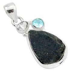 925 silver 13.70cts natural black tektite herkimer diamond topaz pendant t1284