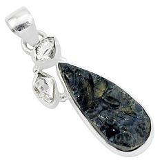 925 silver 12.55cts natural black tektite pear herkimer diamond pendant t1273