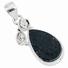 925 silver 12.15cts natural black tektite pear herkimer diamond pendant t1278