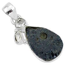 925 silver 12.22cts natural black tektite pear herkimer diamond pendant t1294