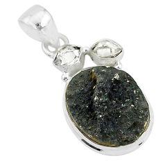 925 silver 12.22cts natural black tourmaline raw pendant jewelry t4140