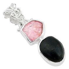 925 silver 8.56cts natural black tourmaline rough rose quartz pendant t20955