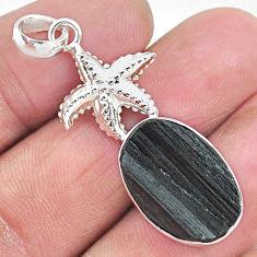 925 silver 13.71cts natural black tourmaline raw star fish pendant t9878