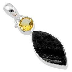 925 silver 10.65cts natural black tourmaline raw yellow citrine pendant t9773