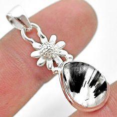 925 silver 5.38cts natural black tourmaline rutile flower pendant t45488