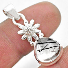 925 silver 5.03cts natural black tourmaline rutile pear flower pendant t45491