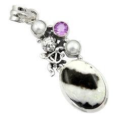 Clearance Sale- 925 silver 15.67cts natural black zebra jasper amethyst angel pendant d45149