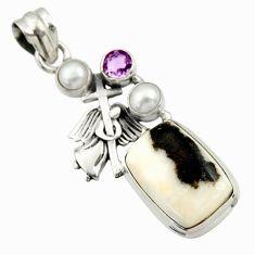 925 silver 15.67cts natural black zebra jasper pearl holy cross pendant d45159