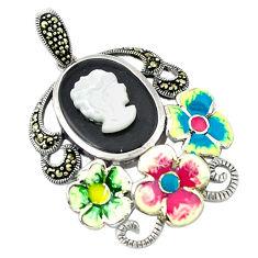 925 sterling silver natural blister pearl marcasite enamel flower pendant c18851