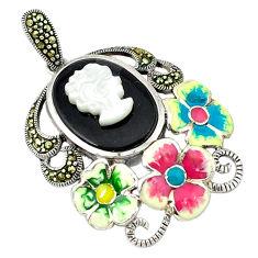 925 sterling silver natural blister pearl marcasite enamel flower pendant c18856