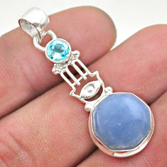 925 silver 7.31cts natural blue angelite topaz hand of god hamsa pendant t46400
