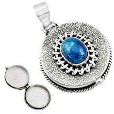 925 silver 4.41cts natural blue apatite (madagascar) poison box pendant r30730