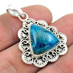 925 silver 11.95cts natural blue apatite (madagascar) trillion pendant t53243