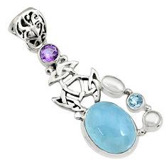 925 silver 16.09cts natural blue aquamarine amethyst pearl topaz pendant r73042