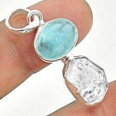 925 silver 10.76cts natural blue aquamarine herkimer diamond pendant t49123