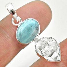 925 silver 9.86cts natural blue aquamarine herkimer diamond pendant t49125