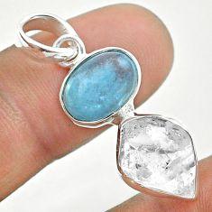 925 silver 9.35cts natural blue aquamarine oval herkimer diamond pendant t49136