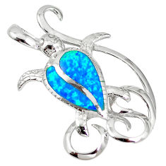 925 silver natural blue australian opal (lab) turtle pendant a61358 c15284