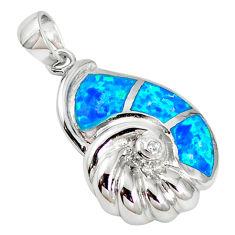 925 silver natural blue australian opal (lab) white topaz pendant a61399 c15206