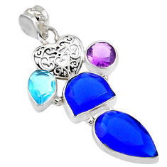 925 silver 23.11cts natural blue chalcedony amethyst topaz pendant r72914