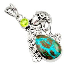 Clearance Sale- 925 silver 12.36cts natural blue chrysocolla green peridot fish pendant d45404