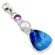 Clearance Sale- 925 silver 11.23cts natural blue doublet opal australian amethyst pendant d45424