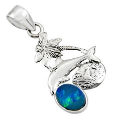 925 silver 2.60cts natural blue doublet opal australian dolphin pendant r48344