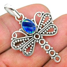 925 silver 1.31cts natural blue doublet opal australian dragonfly pendant t32911