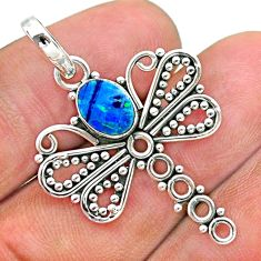 925 silver 1.30cts natural blue doublet opal australian dragonfly pendant t32917