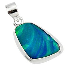 925 silver 8.95cts natural blue doublet opal australian fancy pendant r36138