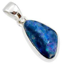 925 silver 5.54cts natural blue doublet opal australian fancy pendant r40057
